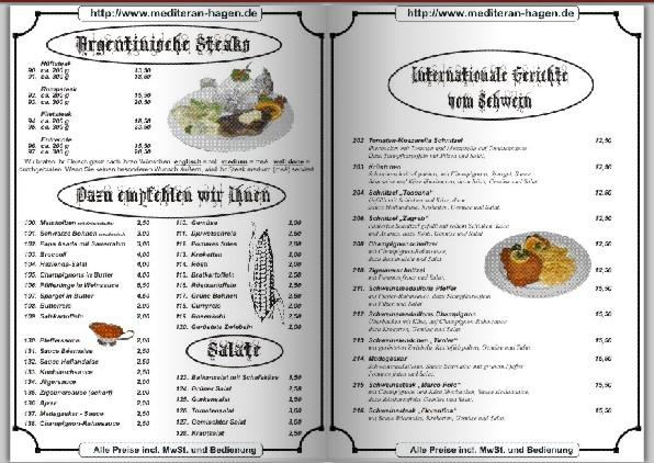 Speisekarte Restaurant Mediteran In Hagen Am Landgericht